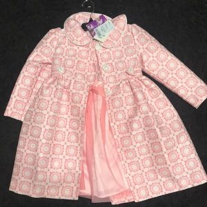 Little girls dress with over coat. Size 6. NWT 24.